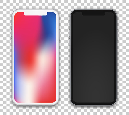 Two beautiful concept on phone screen device, colored and black one on transparent background. Vector high detailed illustration. Imagens
