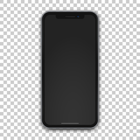 New vector black mobile template with empty screen on transparent background.