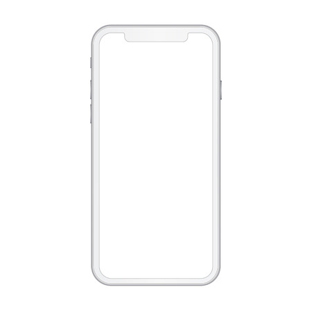 High quality realistic smart phone concept with empty screen. White detailed mobile phone with camera, volume and power buttons.
