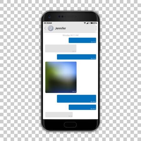 Chat messenger on phone screen, vector illustration.