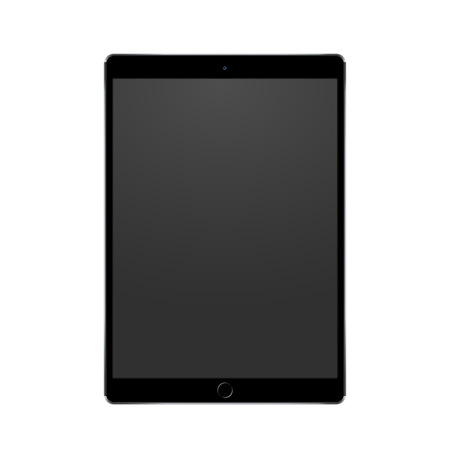 New black tablet concept with camera and home button, isolated on white background. Vector illustration.