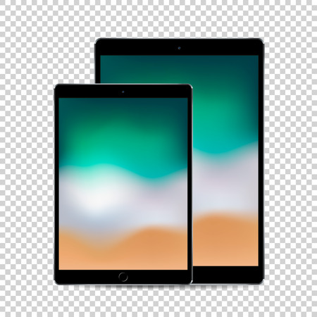 Beautiful concept of 2 sized black tablets with colored screen display, vector quality illustration.