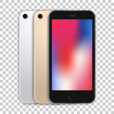 Colored mobile phone mock up on transparent background, back and front views of gadgets. Vector high quality realistic illustration.