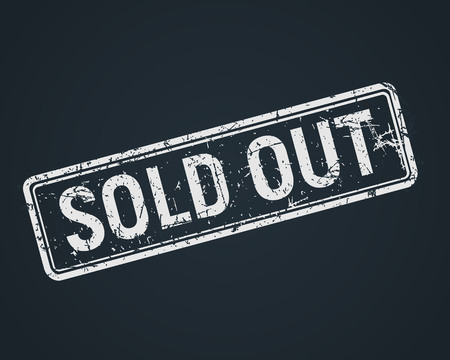 Sold out white grunge stamp on chalkboard, sale badge template in a grunge style, vector illustration.