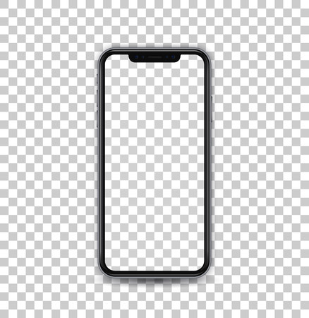 New black concept of mobile phone with camera and volume buttons, empty screen and isolated, vector quality. Ilustração