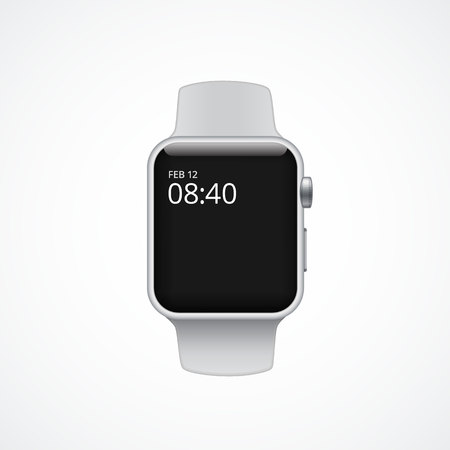 Electronic smart watch concept. Silver fitness band with big empty screen.