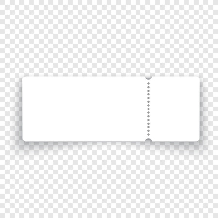 White black ticket template with shadow on transparent background. Vector quality realistic illustration. Ilustração