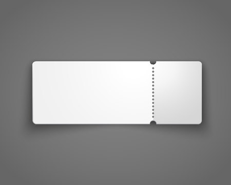 Black ticket, coupon, voucher template isolated on dark grey background. Vector realistic illustration.