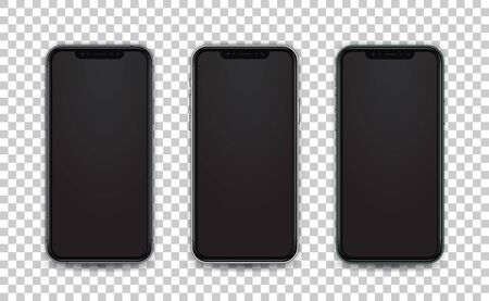 Mobile template white, green and space gray color. Smartphone mock up in realistic style with empty screen isolated. Template for presentation ui design application.