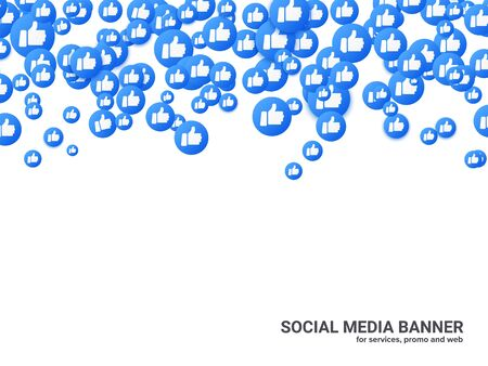 Thumb up background for social network, video, chat and stream. Vector blue round hand icon floating, web and mobile banner mockup. Thumb up graphic element for your social marketing service.
