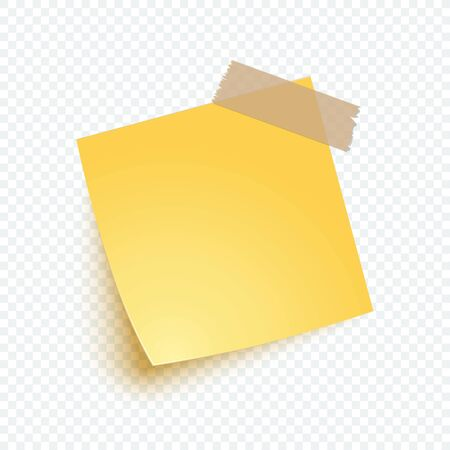 Yellow note paper with shadow, sticker note for reminding, list, info. Vector realistic blank post illustration on transparent background. Çizim