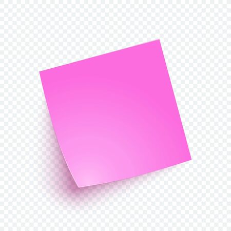 Pink note paper with shadow, sticker note for reminding, list, info. Vector realistic 3d blank post illustration on transparent background.