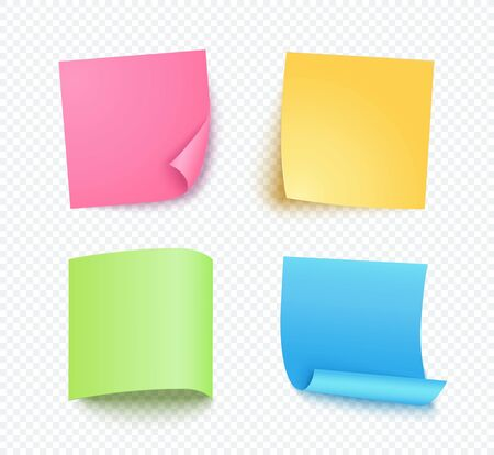 Note sheet of paper set with different shadow. Colored blank post for message, to do list. Set of pink, yellow, blue and green vector sticky notes isolated on transparent background.