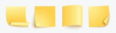 Yellow note sheet of paper set with different shadow. Blank four post for message, to do list, memory. Set of vector sticky notes isolated on transparent background.
