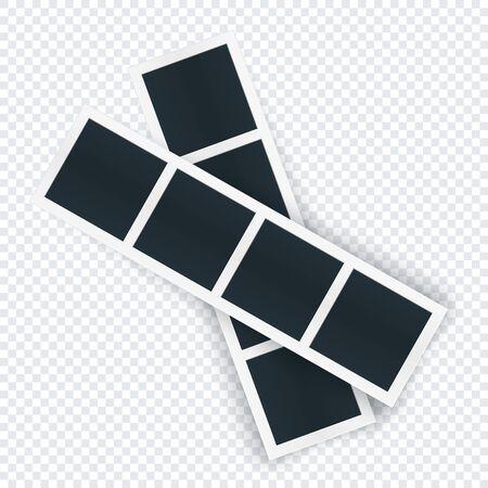 Plantilla de dos tiras de fotos girada, la imagen se coloca en fila. Maqueta de marco de fotografía girada para red social, documento, impresión. Ilustración de vector aislado en transparente.