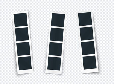 Photo strip set with different shadow isolated, photo frame template for image and picture, vertical mockup for social network, document, memory. Vector illustration.