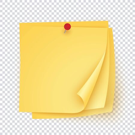 Stack of yellow paper with red pin, empty sticker template with corners curles up. Yellow sticky page collection for notice, reminder, memory. Vector illustration.  イラスト・ベクター素材
