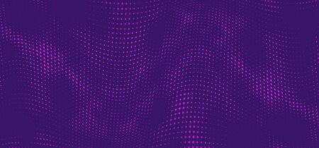 Halftone music wave on purple background. Dotted vibrant texture for wallpaper, music poster, flyer. Abstract halftone effect with dot and circle in popart style. Vector illustraction. Ilustração