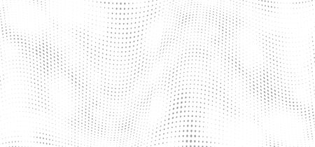 Halftone background. Abstract wave dotted template, grey gradient for poster, wallpaper, music flyer, website and banner. Pop art grunge textured background with dot and circle. Vector illustration.