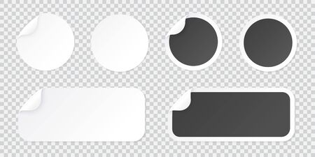 Round sticker template with peel of corner, black and white price tag or promo label template isolated on transparent background. Vector adhesive patch illustration with curled corner.