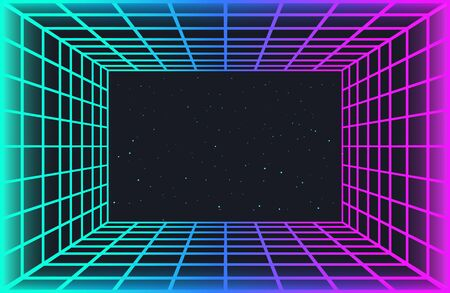 Vaporwave retro futuristic background. Abstract laser grid tunnel in neon colors with glow effect. Night sky with stars. Wallpaper for cyber punk party, music poster, hackathon meeting.