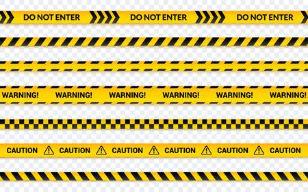 Caution tape set, do not enter yellow ribbon. Warning banner with message horizontal, abstract line symbol for print and web.