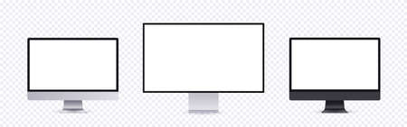 Realistic computer mockup, modern frameless monitor collection with empty screen isolated on transparent, background. Personal computer set template, front view.