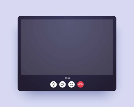 Video call screen. Web chat application ui with voice and video icon and blank place for your picture.