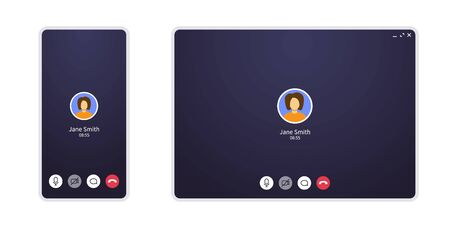 Video call screen on mobile phone and web. Conference chat application ui with mic and video icon and blank place for your picture. Mockup for home office and online learning on quarantine.