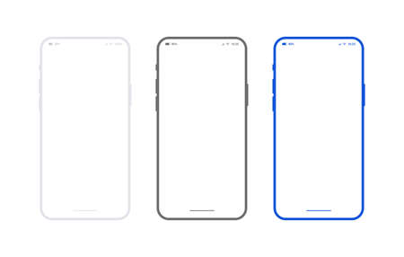 Flat smartphone mockup set white, black and blue colors. Generic mobile phone in front view and empty screen for app design or web site presentation. Outline vector device frame in front side view.