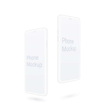 Clay smartphone mockup, flying realistic mobile device set with blank screen isolated on white background. Presentation kit for your app or web design. Vector modern phone with thin frame, 3d concept.