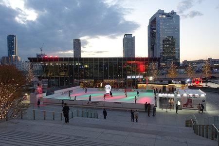 Skate rink in Umekita Square in front of Osaka Station