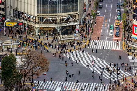 Looking down at Shibuya Scramble Crossing