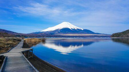 Mt. Fuji from the Boardwalk on the Shore of Lake Yamanaka Stock Photo