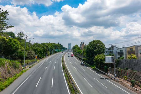 Tomei Expressway extending toward the city center Banque d'images