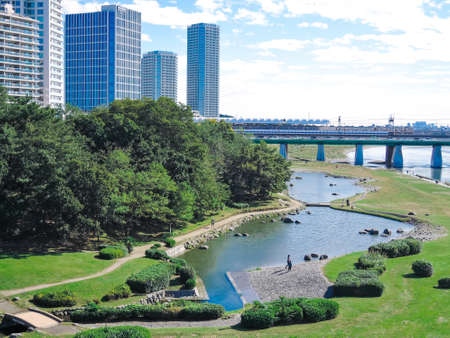 Hyogojima Park on the Tamagawa riverbed from The Two Children's Bridge in fine weather