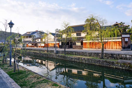 On a spring morning, the quiet cityscape of kurashiki bikan district (looking out from Maejinbashi Bridge)