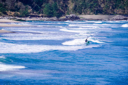 Surf from early spring at Uno Beach (Tottori Prefecture) in the Sea of Japan, known for its good waves