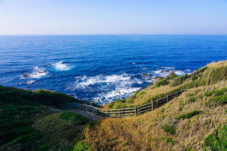 The sea of Jogashima island which jumped out to the Pacific Ocean from the southern tip of Kanagawa Prefectural Jogashima Park and Miura Peninsula where it was sunny