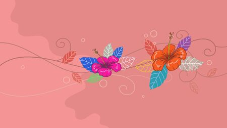 Hand drawn tropical jungle exotic hibiscus flower on pink background. summer floral wallpaper. vector illustration Иллюстрация