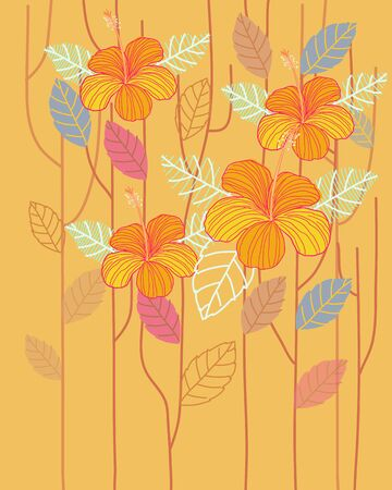 Hand drawn tropical jungle exotic hibiscus flower on yellow background. summer floral wallpaper.