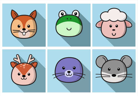 Set Of Cute Cartoon Animals Face Isolated . Vector Flat Design Illustration from Front. Suitable for Web site page, Mobile app and Social Media.