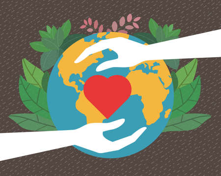 Isolated icon of two hands protect our green world; Heart care, heart protect, love protect concept illustration. Symbol of caring for the beautiful world, love, charity.