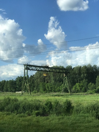 A gantry crane stands by the forest