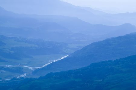 pokhara: The mountain in the Annapurna Region near Pokhara . Stock Photo
