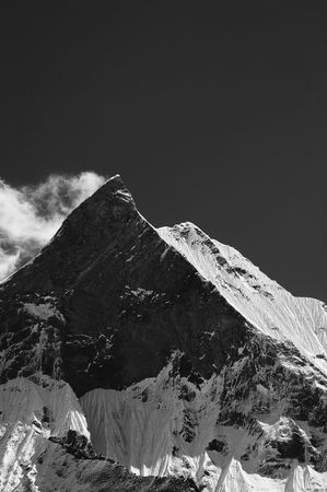 fish tail: Mt. Machapuchhare is also called Mt. Fish Tail. It is the major attraction in Annapurna Region. Stock Photo