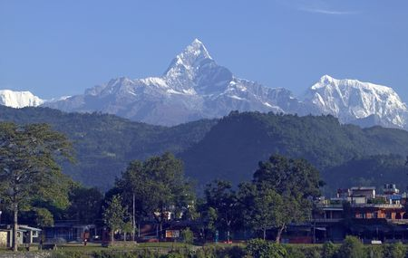 fish tail: Mt. Machapuchhare is also called Mt. Fish Tail. It can be seen in Pokhara.