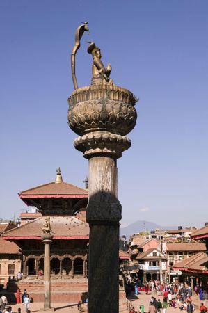 The King Yoganarendra Malla's Column in Patan Durbar Square. Stock Photo - 1829942