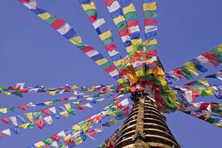 kathmandu: The Tibetan prayer flags on Bodhnath in Kathmandu. Stock Photo
