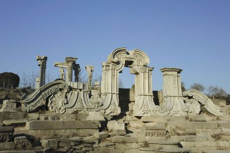 remains: The Old Summer Palace was destroyed in Qing Dynasty. Only a few ruins remain in the site.